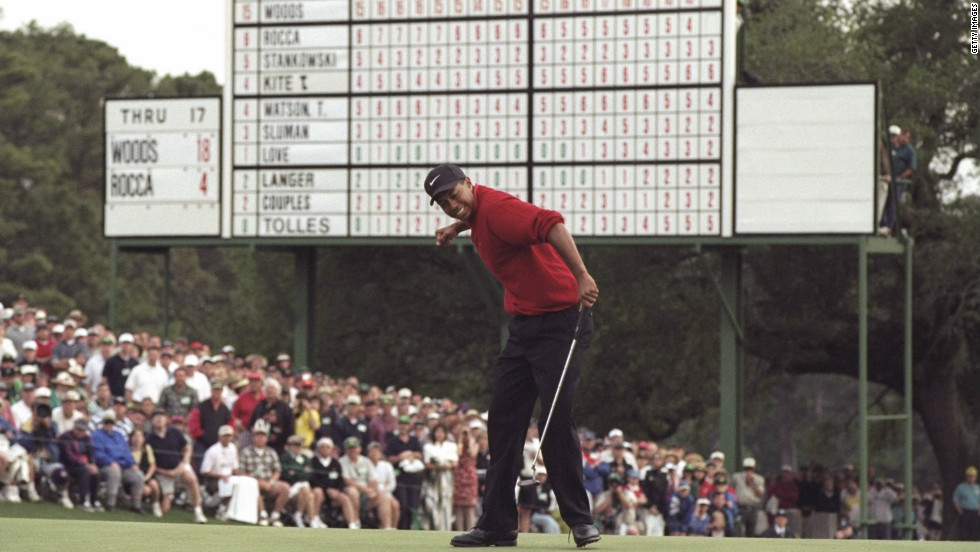 In 1997, Tiger Woods set the record for lowest winning score in the tournament's history as he won it for the first time. His four-round total of 18-under-par 270 beat Jack Nicklaus's 1965 record by one stroke. Woods also smashed the record for the biggest winning margin, coasting home by 12 strokes ahead of nearest rival Tom Kite. At the tender age of 21 years, three months and 14 days, he was the youngest winner of a Green Jacket.