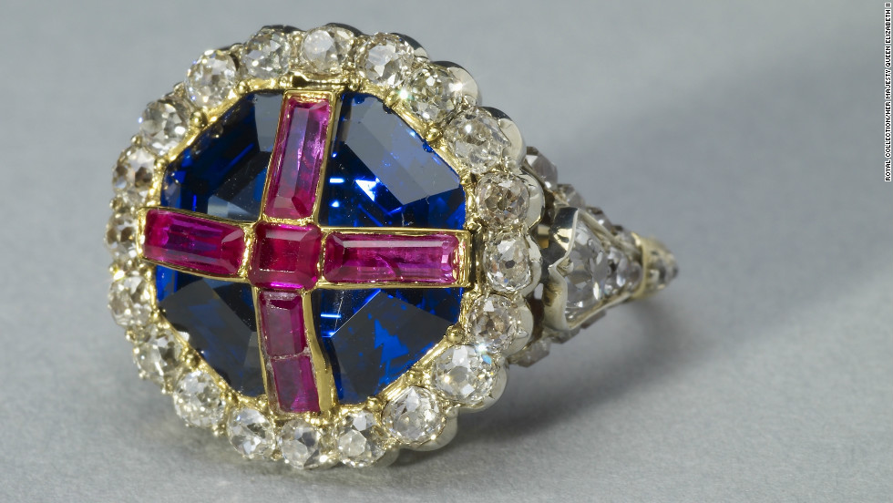 "British monarchs are symbolically ""married"" to the country during their coronation. This coronation ring was made for Queen Victoria, as the traditional one was too large. However, this version was too small, and became stuck on her finger."