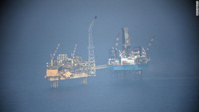 Large volumes of gas continued Friday to gush into the North Sea from an offshore oil platform.