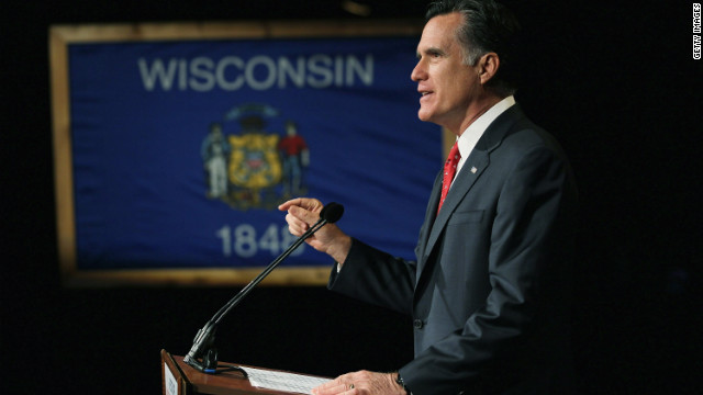 Republican presidential hopeful Mitt Romney campaigns in Wisconsin ahead of Tuesday's contests.