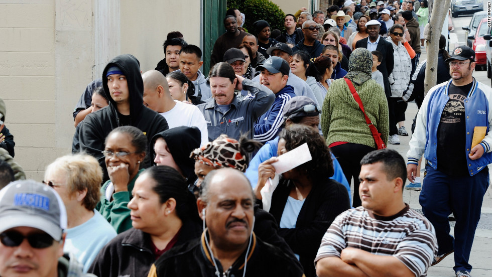 With the line stretching around the block, hundreds of people waited for over two hours to buy lottery tickets at Bluebird liquor store on Thursday in Hawthorne, California.
