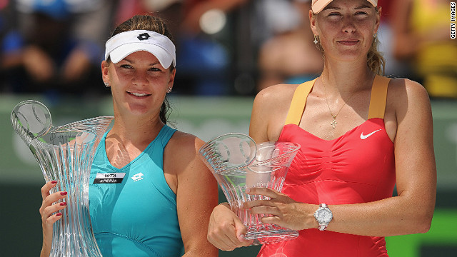Agnieszka Radwanska secured her second title of the year at the Miami Masters on Saturday