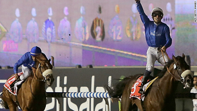 Mikael Barzalona celebrates in trademark style after riding Monterosso to victory in the Dubai World Cup.