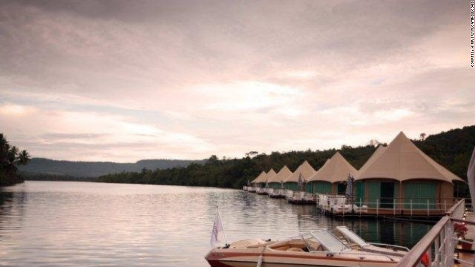 The 4 Rivers Floating Lodge in Koh Kong is a resort of 12 luxury yurts that float on the Cambodian section of the Mekong River, an hour's drive from the Thai border,