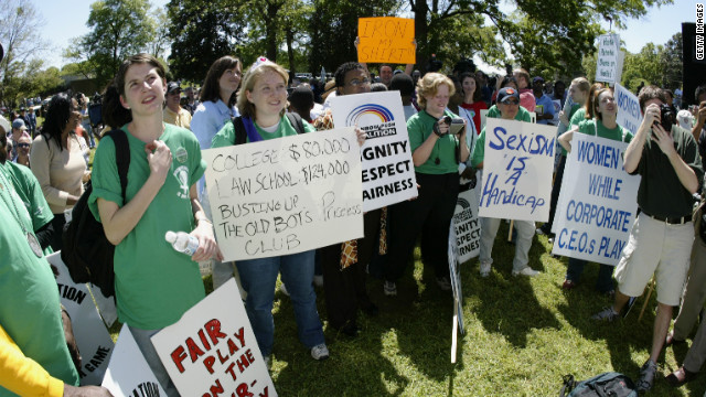 Demonstrators gather during Masters week demonstrations outside the gates of Augusta National Golf Club in 2003.