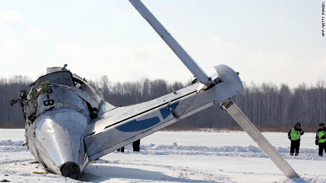 The tailplane of a ATR-72 passenger plane that crashed moments after take-off in an oil-rich Siberian region.