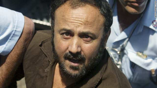 Marwan Barghouti is pushed by Israeli police into court on June 6, 2004 in Tel Aviv, Israel.