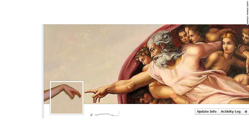 "Patrick Duffy of Atlanta decided to <a href=""http://ireport.cnn.com/docs/DOC-767203"">re-create Michelangelo's fresco</a> ""The Creation of Adam"" for his cover photo. He combined an image of the famous painting with a photo he shot of one of his hands, putting himself in Adam's place. ""I was resistant to (Timeline) at first,"" Duffy says, ""but I've seen so many changes over the years in Facebook that I realize people are just resistant to change, we will get over it quickly. I have actually found great uses of the Timeline so far. ... It makes it easier to locate certain updates you made in the past or photos."""