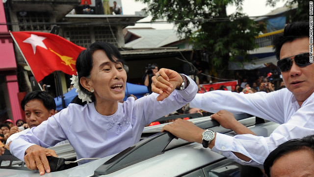 Myanmar opposition leader Aung San Suu Kyi in Yangon after her victory. in a by-election.