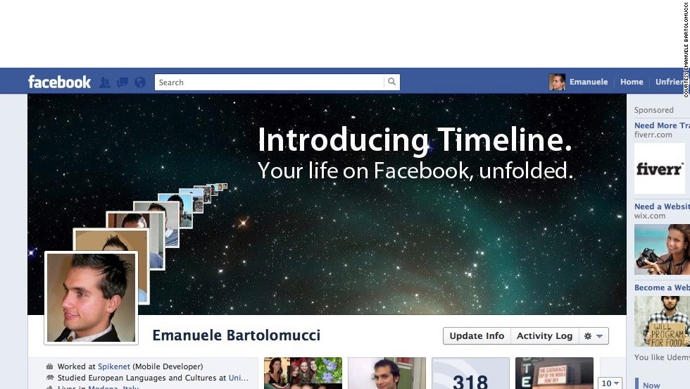 """Timeline reminds Emanuele Bartolomucci of Apple's interface so the Modena, Italy, resident decided to make over his profile, <a href=""""http://ireport.cnn.com/docs/DOC-765162"""">OS X style</a>. """"The Timeline interface reminded me in some ways ... of Time Machine in Mac OS X, a visual, gorgeous way to navigate back in time and bring to life the various stages of our lives. So, being an Apple fan, I tried to kind of merge these two features in an Apple-ish image that reminds one of their ads when a major product rolls out,"""" he says."""
