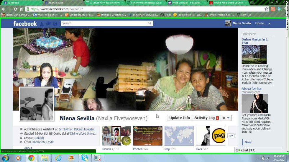 "Niena Sevilla is the rare Facebook user who was a fan of Timeline from the beginning, and she likes it for more than just the large cover photo. ""By uploading my certificates, images of my achievements and experiences on life events, I can <a href=""http://ireport.cnn.com/docs/DOC-764348"">reminisce(about) those exciting moments</a>,"" she says. ""What I love the most is the cover photo because just by looking at it, it tells everything about you!"" Her cover photo is a collage of pictures of her parents and children. ""It makes me feel closer to them,"" she says. And she's uploaded all kinds of important events (with photos) to her Timeline, such as her baptism and even the first CNN story in which she was mentioned."