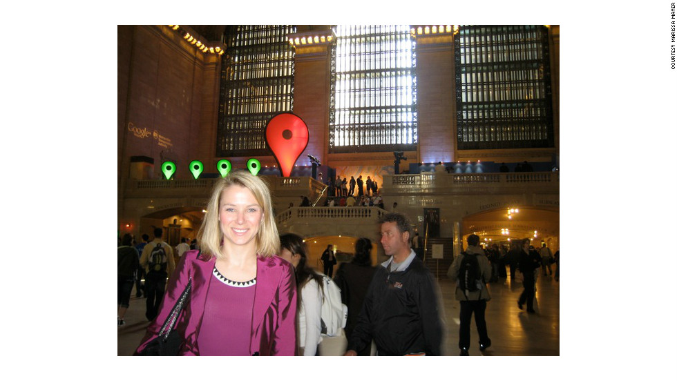 Mayer says every new product raises users' expectations. Here, Mayer is at Grand Central Station in New York for the launch of the Transit feature on Google Maps in 2008.