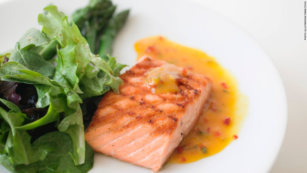 Salmon is also a good source of lean protein. With this diet doctors suggest eating fish at least two times a week. Salmon provides a high dose of omega-3 fatty acids, which studies show significantly lower the risk of heart disease. Omega-3 fatty acids fight back by reducing inflammation and slowing the rate of plaque buildup in blood vessels.