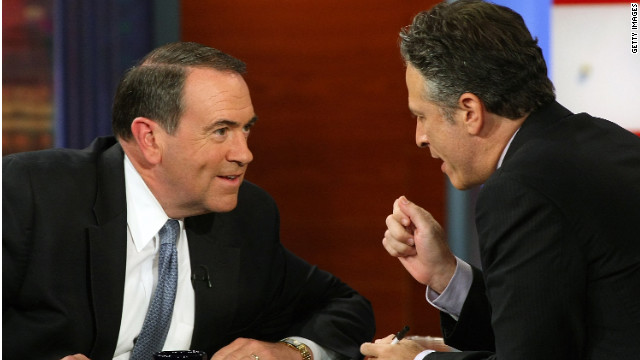 "Jon Stewart, right,  interviews Mike Huckabee on the 'The Daily Show"" in September, 2008. Huckabee is now with Fox News."