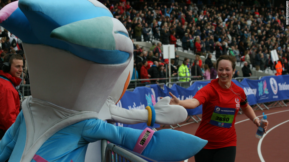 London 2012 mascots Wenlock and Mandeville were on hand to offer runners plenty of encouragement.