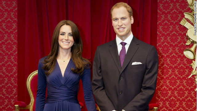 Wax figures of the Duke and Duchess of Cambridge, William and Kate, are unveiled at Madame Tussauds in London on April 4, 2012.