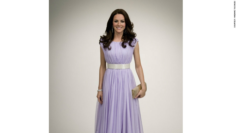 """The New York """"Kate"""" wears a replica of the lilac Alexander McQueen gown she wore to a BAFTA event in Los Angeles, during the royal couple's hugely popular tour of Canada and the U.S."""