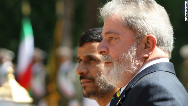 President Mahmoud Ahmadinejad welcomes Brazil's president,  Luiz Inacio Lula da Silva, to Tehran  in May 2010.