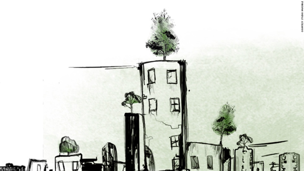 "This artist's impression of the ""Wonder Forest"" shows individual trees planted in pots, sitting on the rooftops in Beirut. Melki says that even with just one tree per rooftop, there would be as many trees as in New York's Central Park."
