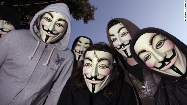 Images of Guy Fawkes masks also appeared with a message on the Chinese websites targeted by  Anonymous hackers.