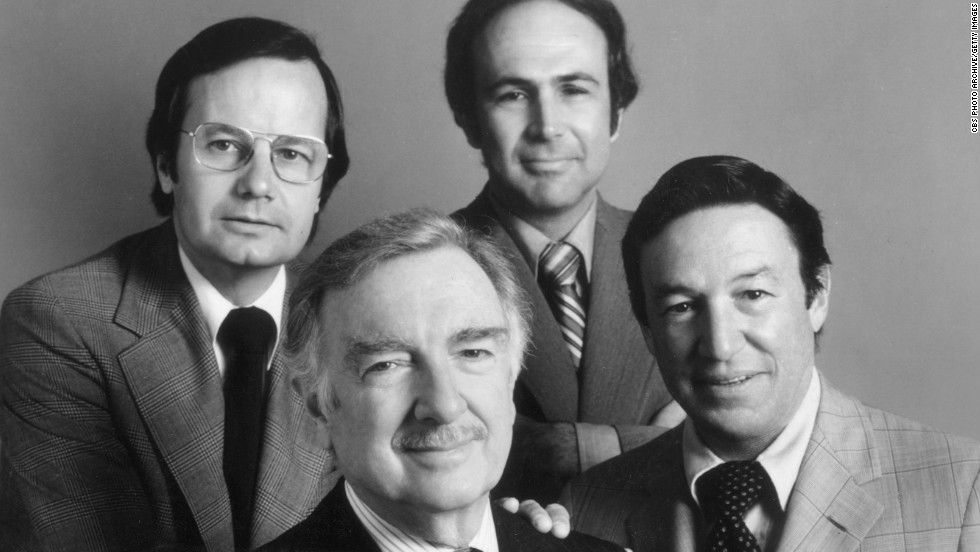 Bill Moyers, from left, Walter Cronkite, Morton Dean and Wallace pose in a 1975 promotional photo of CBS News correspondents covering the Republican National Convention.