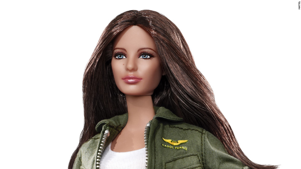 "Blake Lively's portrayal of  Carol Ferris in ""Green Lantern"" spawned a Barbie version of the test pilot in 2011. Like the character, the doll has long brown hair and wears a green flight suit."