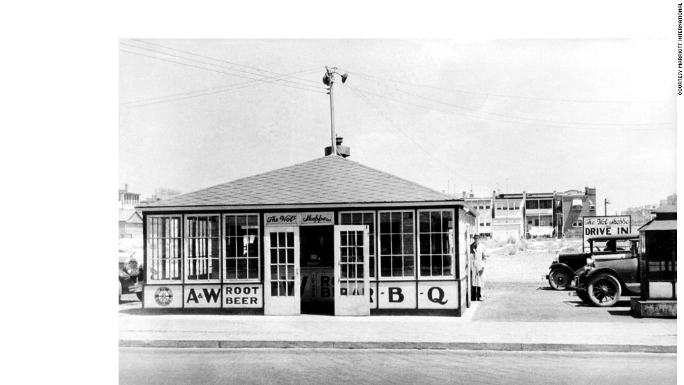 Before he opened the first Marriott hotel, Bill Marriott's father, J. Willard Marriott, ran an A&W root-beer stand. Pictured is the first East Coast drive-in A&W stand, circa 1928.