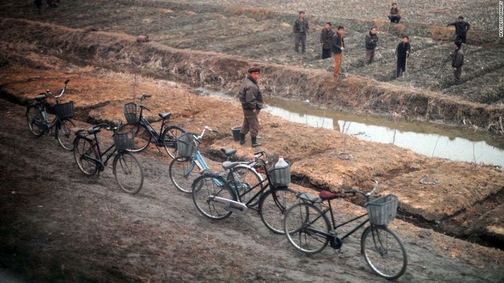 Bicycles line the road as citizens work the land between Pyongyang and the North Phyongan province.
