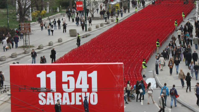 A swathe of red snakes through Sarajevo. Each of the 11,541 chairs symbolizes a person killed during the Siege of Sarajevo.