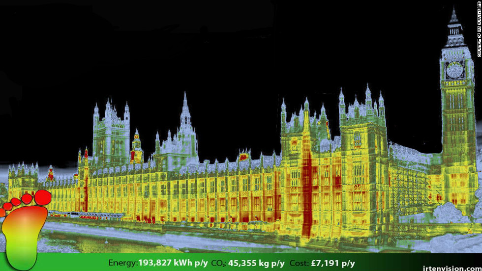 "Thermal imaging company <a href=""http://www.irtsurveys.co.uk/"" target=""_blank"">IRT</a> have been providing thermal surveys in the UK for the past decade. CEO Stewart Little says the cost of thermal cameras has dropped dramatically in recent years. Here an IRT survey shows the energy footprint of the UK's Houses of Parliament in London."