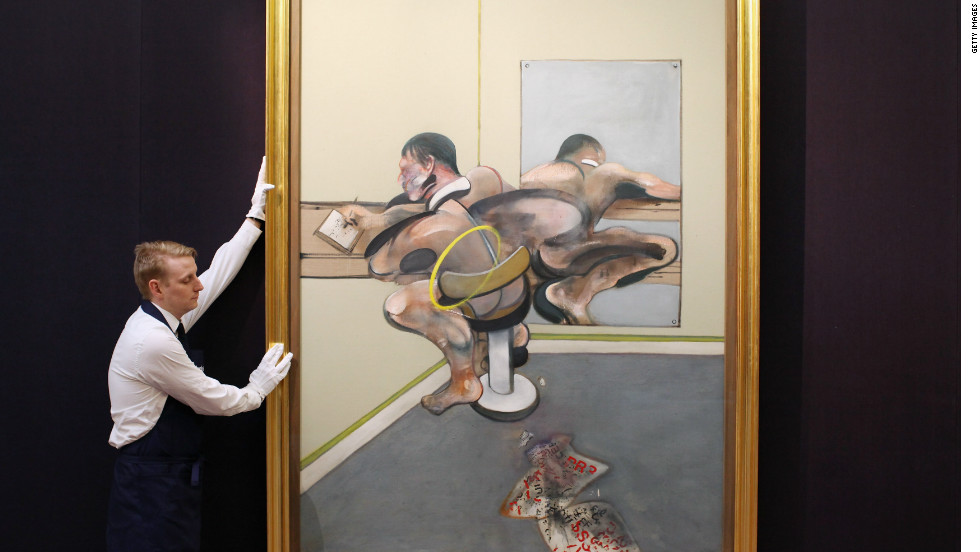 "Francis Bacon's ""Figure Writing Reflected in Mirror"" is on view as part of the same exhibition. Sotheby's experts say it is likely to sell for in excess of $30 million."