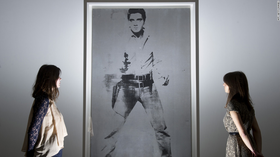 """Double Elvis (Ferus Type)"" by Andy Warhol at Sotheby's auction house in central London."