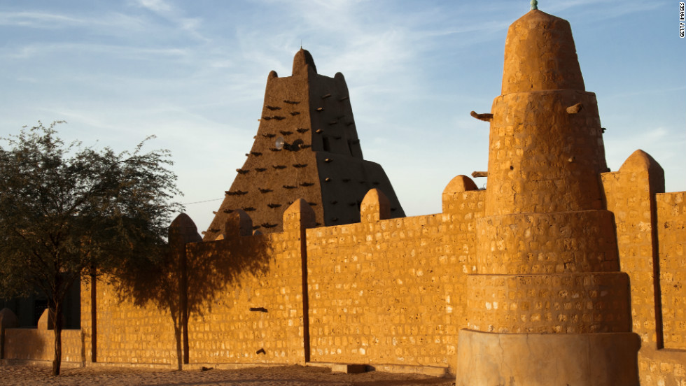 The famous mosque at Sankore, part of Timbuktu's medieval university. The mosque's sanctuary was proportioned to match the Kaaba at Mecca, which had been measured with a rope during a pilgrimage.