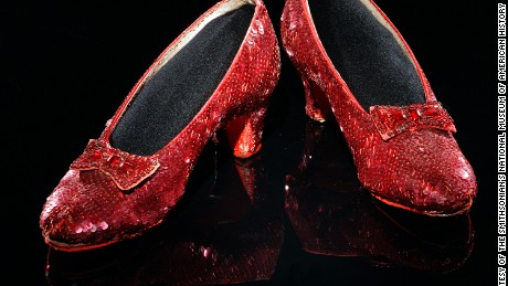 One of the several pairs of sequined shoes worn by 16-year-old Judy Garland as Dorothy in The Wizard of Oz in 1938.