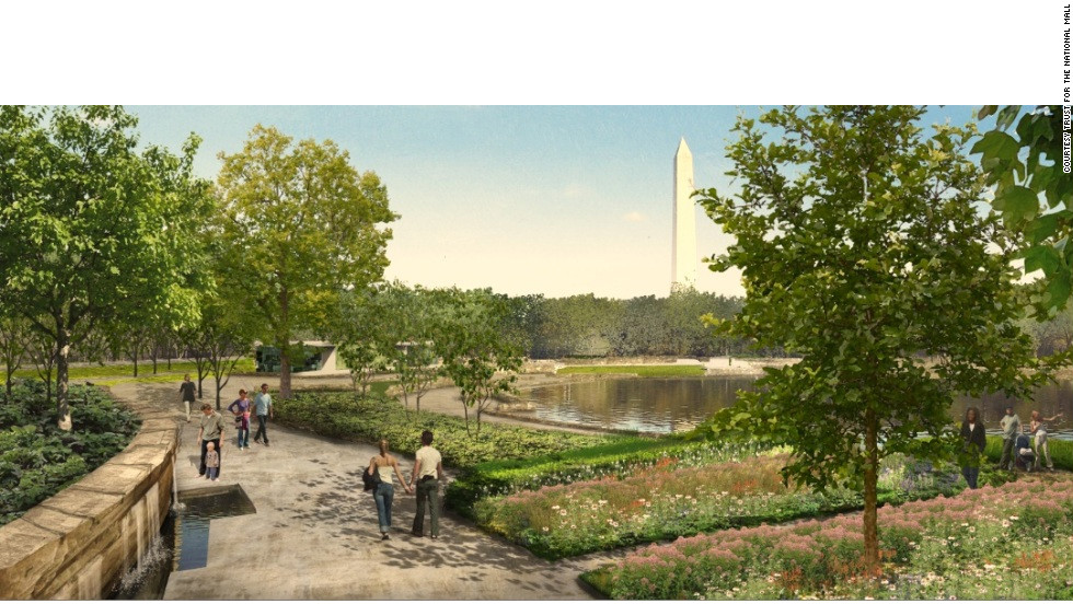 Gardens and walkways at pond in Constitution Gardens. Proposal by Nelson Byrd Woltz Landscape Architect & Paul Murdoch Architects