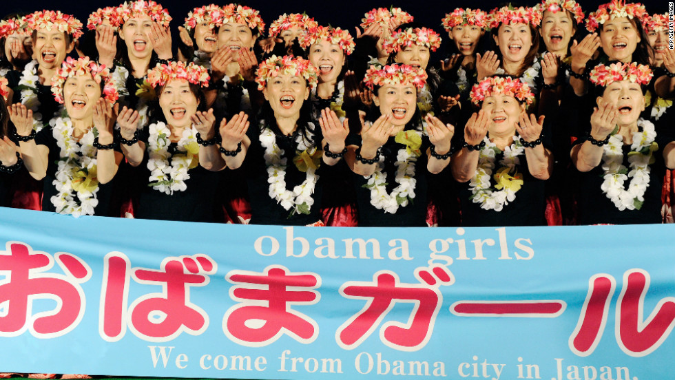 "Residents of a coastal Japanese city called Obama formed the ""Obama for Obama"" group in 2008, complete with hula dancers."