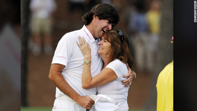 Bubba Watson hugs his mother, Mollie, after winning the 2012 Masters golf tournament.