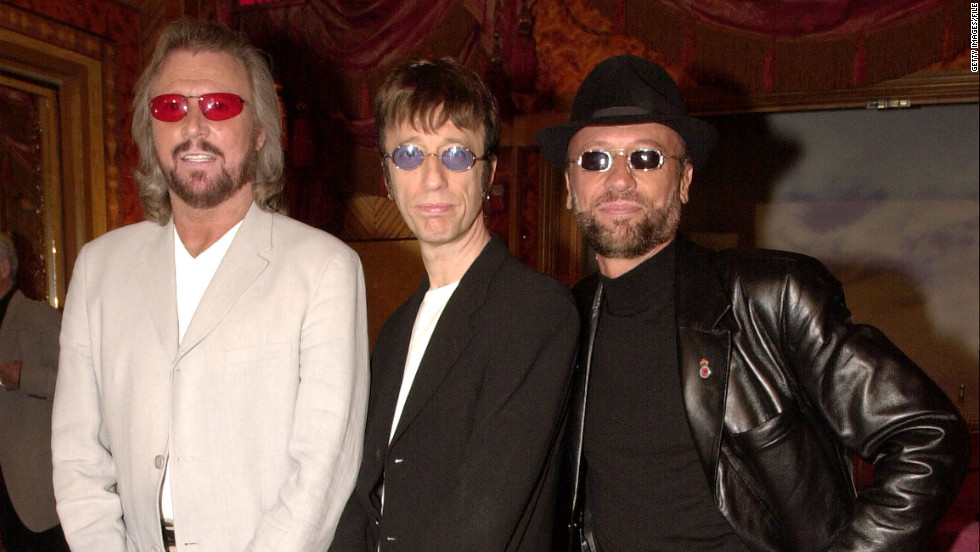 "Barry, Robin and Maurice pose at a New York press conference in 2001 announcing the release of the Bee Gees album ""This is Where I Came In."""