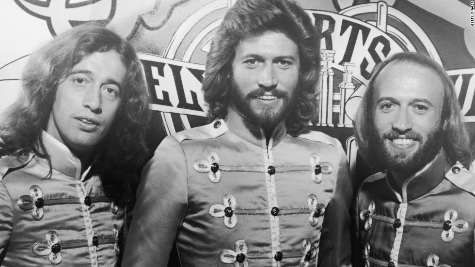 """Robin, Barry and Maurice do a promotional shot for director Michael Schultz's Beatles tribute film, """"Sgt. Pepper's Lonely Hearts Club Band,"""" in 1977."""