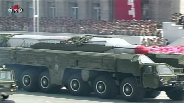 North Korean parade shows off missile