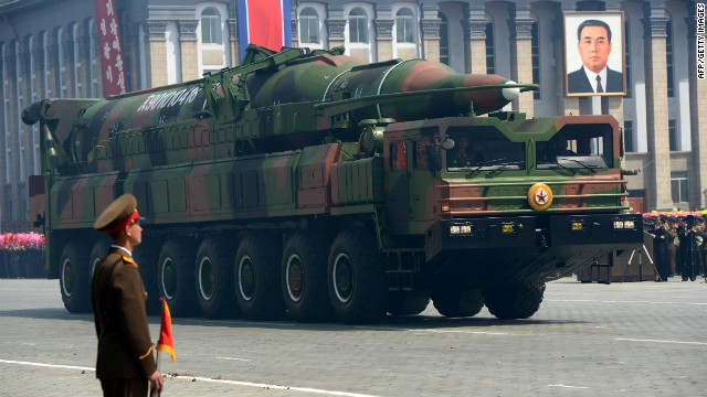 A North Korean missile Taepodong class is displayed during a military parade in Pyongyang on April 15, 2012.