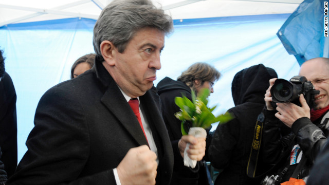 Jean-Luc Mélenchon of the Left Front gestures before a campaign stop in Pau, France, on Sunday.