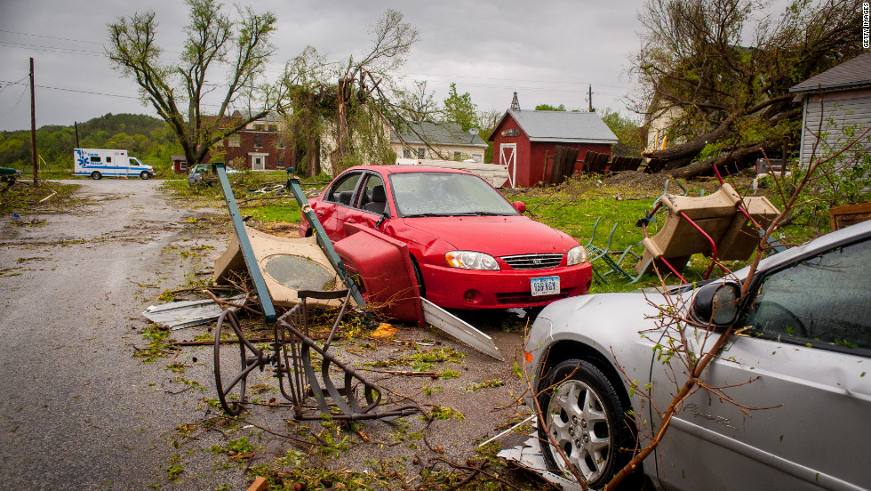 By early Sunday morning, many Thurman residents who took up temporary shelter at a high school in nearby Tabor were again in the path of a storm that spawned suspected tornadoes in neighboring Kansas.