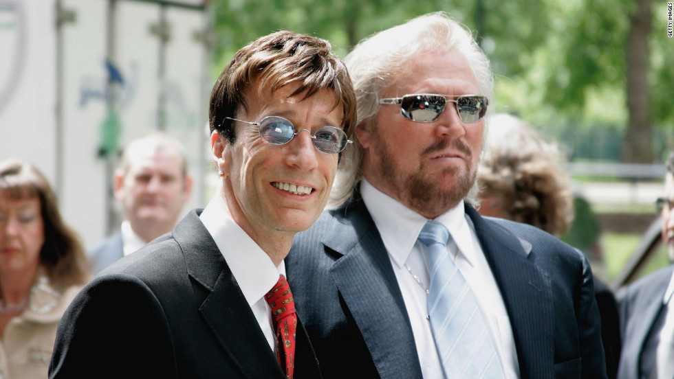 Robin and Barry Gibb arrive for The Ivor Novello Awards at the Grosvenor Hotel on May 25, 2006, in London, England.