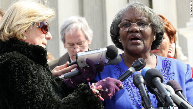 Betty Dukes talks to the press. She was the lead plaintiff in a 2011 class action suit accusing Wal-Mart of discriminating against women on wages and promotions. The Supreme Court said the case could not proceed as a large class action suit.
