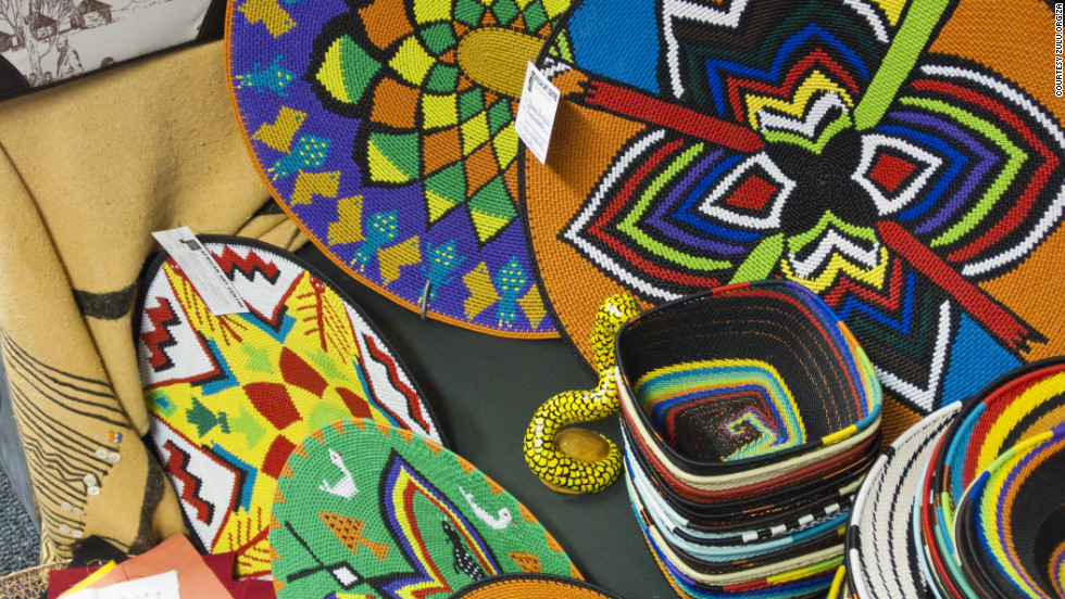 Intricate rainbow-colored bead and wireworks are a staple of traditional Zulu dress. Catch some of the best craftsman selling their wares at the Mona cattle and crafts show for four days every month.