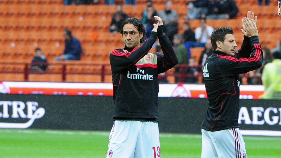 Last weekend's football fixtures in Italy were called off following Morosini's death. AC Milan defender Alessandro Nesta, left, acknowledeges the crowd after Saturday's Serie A match against Genoa was canceled.