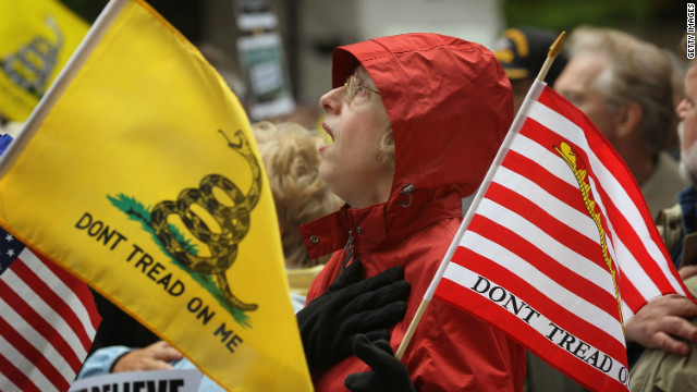 Kay Herrmann sings the National Anthem at a tea party rally to protest President Obama's proposed Buffett Rule tax plan.