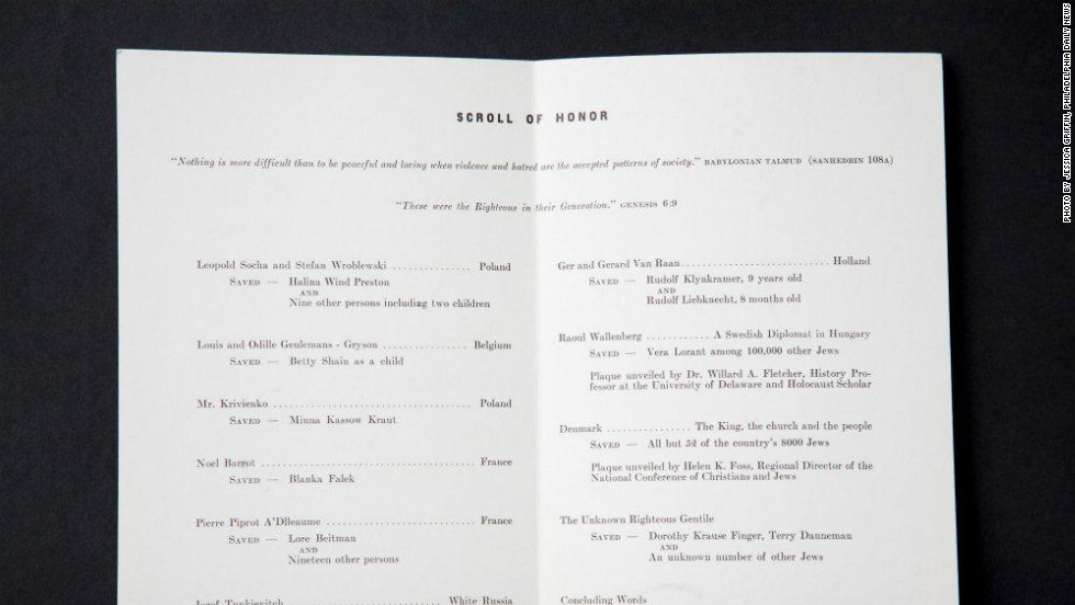 """Scroll of Honor"" inside program, listing trees dedicated at the Garden of the Righteous Gentiles, Wilmington, Delaware, on November 16, 1981."
