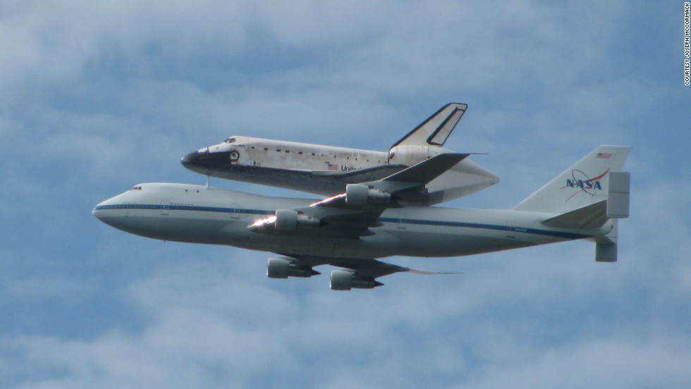 The shuttle rode atop a specially modified 747 from Kennedy Space Center in Florida to Dulles Airport near Washington.